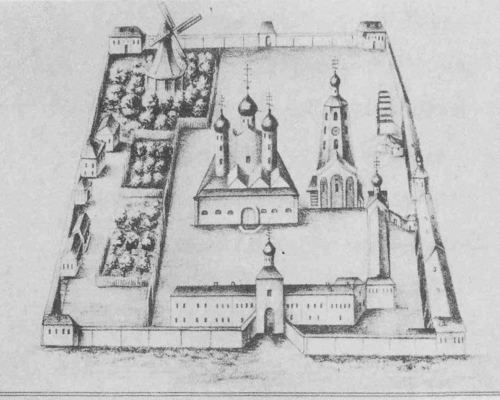Ветряная мельница голландского типа в Антониеве монастыре.  Репродукция с гравюры XVIII в.